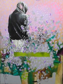 Julia Benz _  Bees Knees Acryl, Tusche auf Holz 80 x 60 cm 2014 ohne Rahmen web