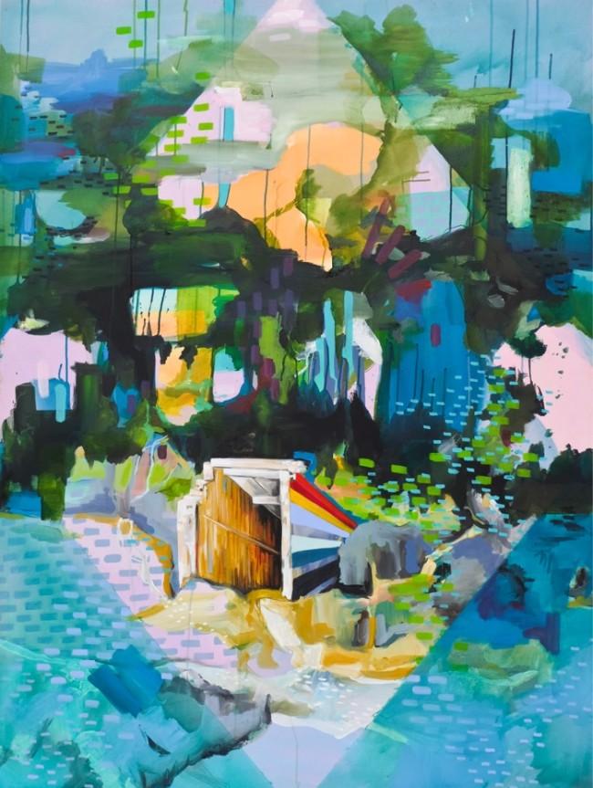 Julia Benz_Notausgang 160 x 120 cm Tusche, Acryl Leinwand 2014 web