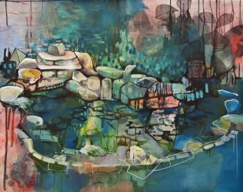 Magic Mushroom Tusche, Oil, Acryl, Lack  120 x 160 cm 2012auf Leinwand web