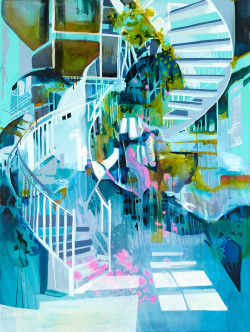 Time to go 160x120cm Acrylic Ink on canvas 2015 _ Julia Benz