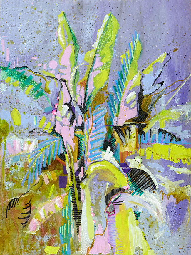 Julia Benz_Bananatree 80x60cm acrylic,ink on wood 2015 Low Res ohne Rahmen
