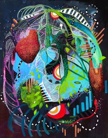 Julia Benz_Bei mir bist du schön 45x35cm acrylic, ink on wood 2015 Low Res Ohne Rahmen