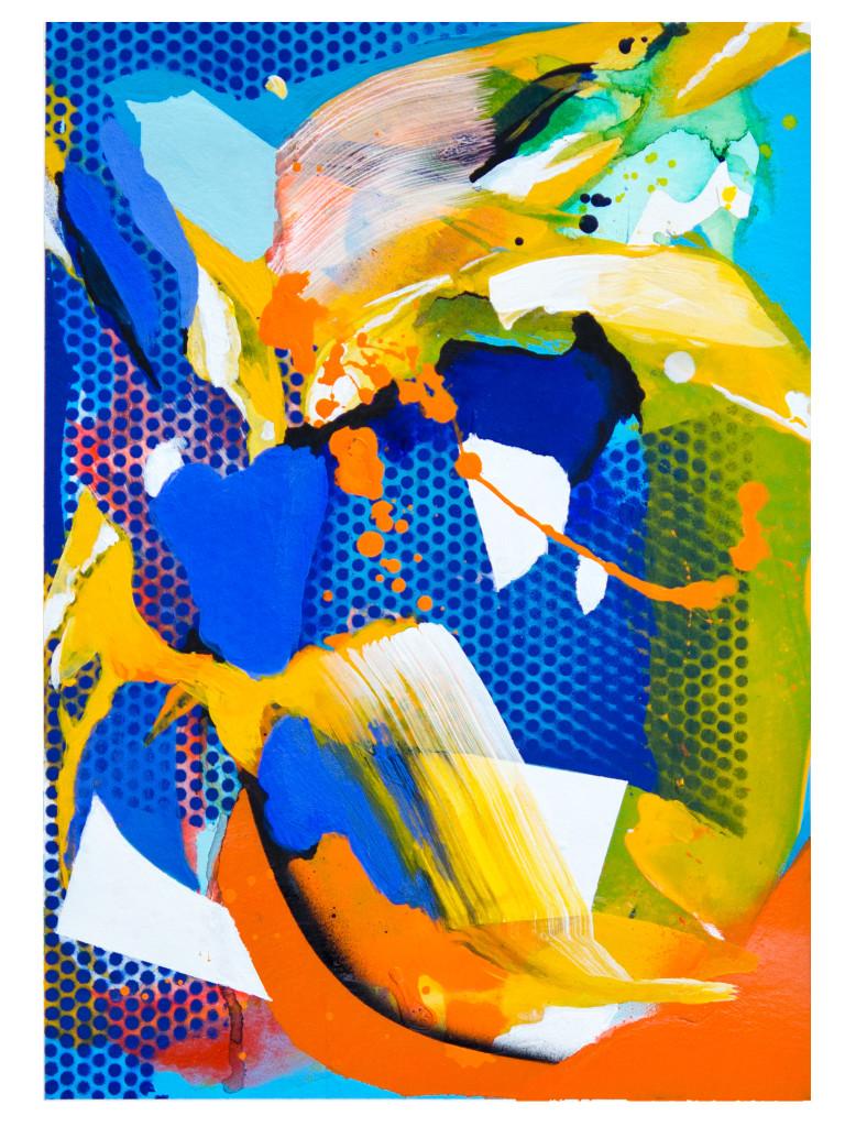 Tag 15_acrylic, ink, aerosol on paper, Hahnemühle 265g, 40cm x 30cm, 2020_Julia Benz_gerahmt