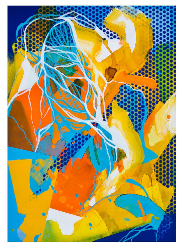 Tag 17_acrylic, ink, aerosol on paper, Hahnemühle 265g, 40cm x 40cm, 2020_Julia Benz_Rahmen