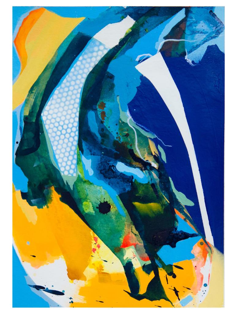 Tag 1_acrylic, ink, aerosol on paper, Hahnemühle 265g, 40cm x 30cm, 2020_Julia Benz_gerahmt