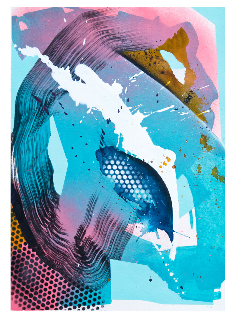 Tag 20_acrylic, ink, aerosol on paper, Hahnemühle 265g, 40cm x 30cm, 2020_Julia Benz_gerahmt