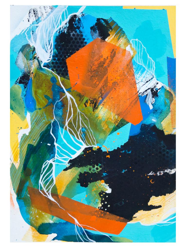 Tag 24_acrylic, ink, aerosol on paper, Hahnemühle 265g, 40cm x 30cm, 2020_Julia Benz_gerahmt