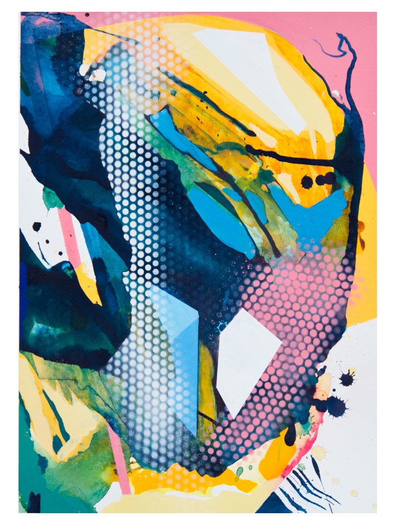 Tag 2_acrylic, ink, aerosol on paper, Hahnemühle 265g, 40cm x 30cm, 2020_Julia Benz_gerahmt