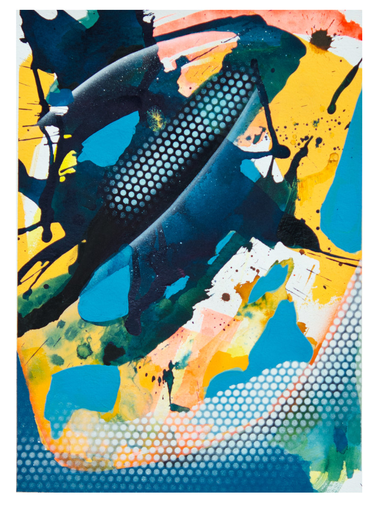 Tag 8_acrylic, ink, aerosol on paper, Hahnemühle 265g, 40cm x 30cm, 2020_Julia Benz_gerahmt